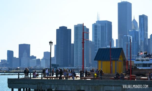 El skyline de Chicago desde Navy Pier, donde también confluyen los sonidos
