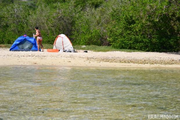 El campamento de los viajeros, sencillo y necesario